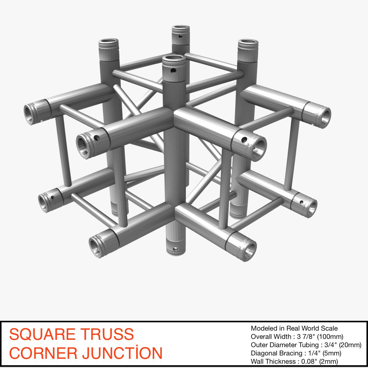 square truss corner junction 44 3d model 3ds max dxf fbx b3d c4d other  obj 268893