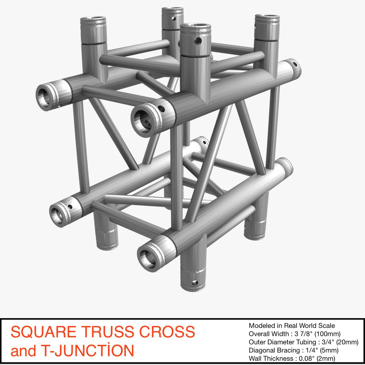 square truss cross and t- junction 31 3d model 3ds max dxf fbx b3d c4d other  obj 268901