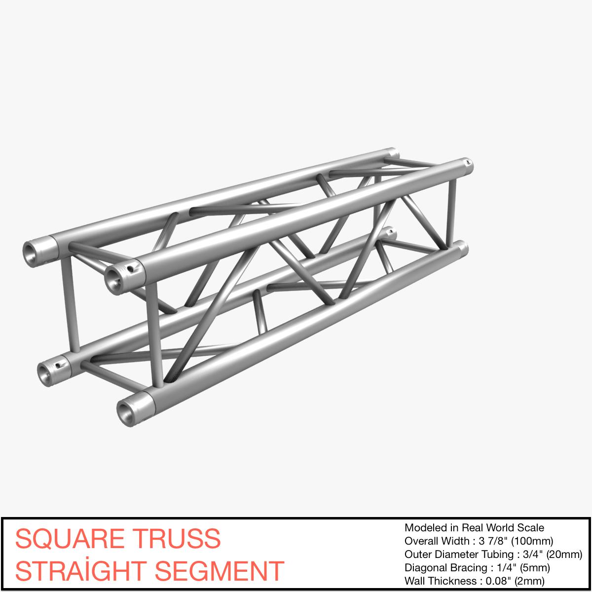 square truss straight segment 21 3d model 3ds max dxf fbx b3d c4d  268911
