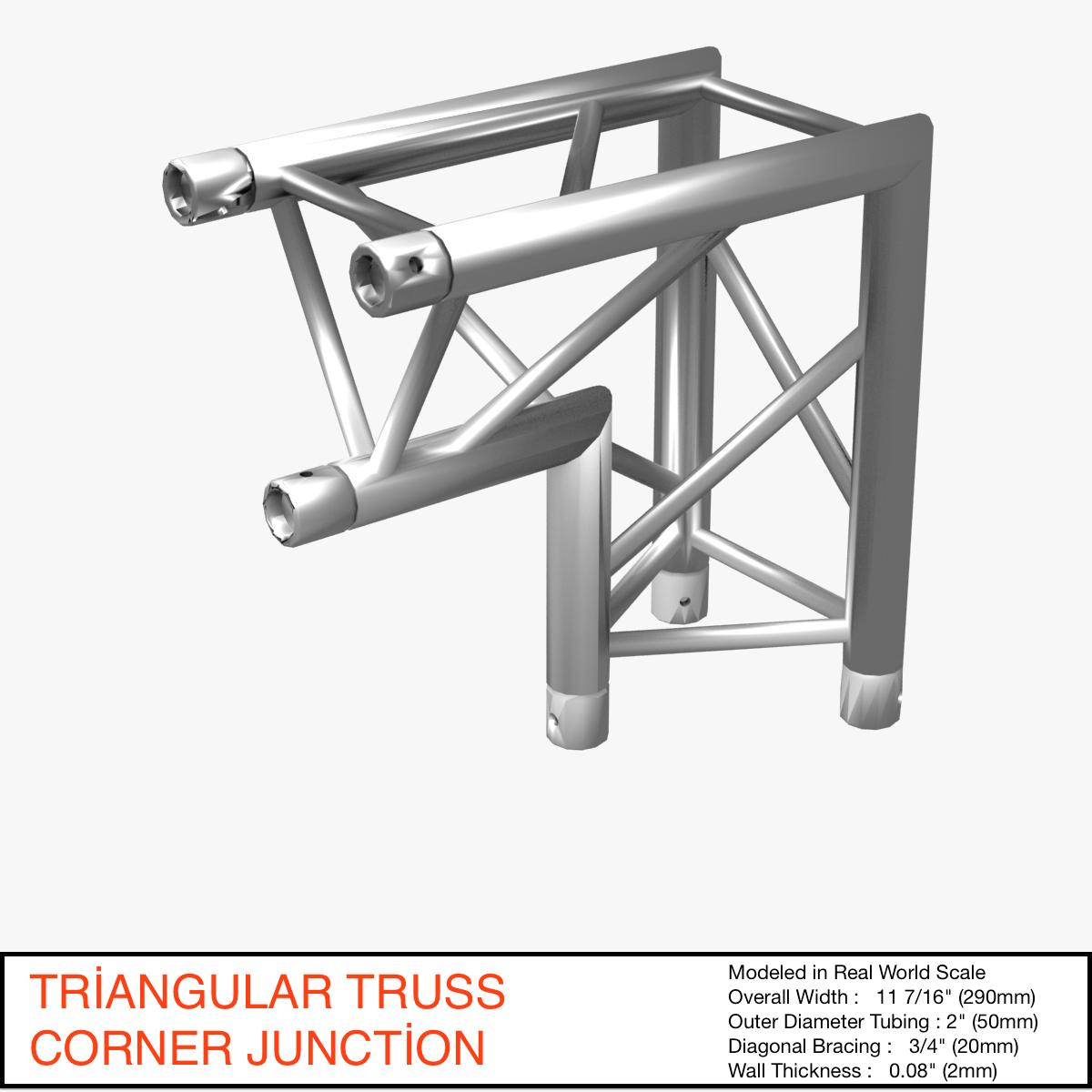 Triangular Truss Corner Junction 107 3d model 3ds max dxf fbx b3d c4d  obj 268942