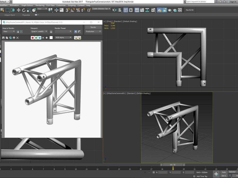 Triangular Truss Corner Junction 107 3d model 3d printing 3ds max dxf fbx b3d c4d  obj