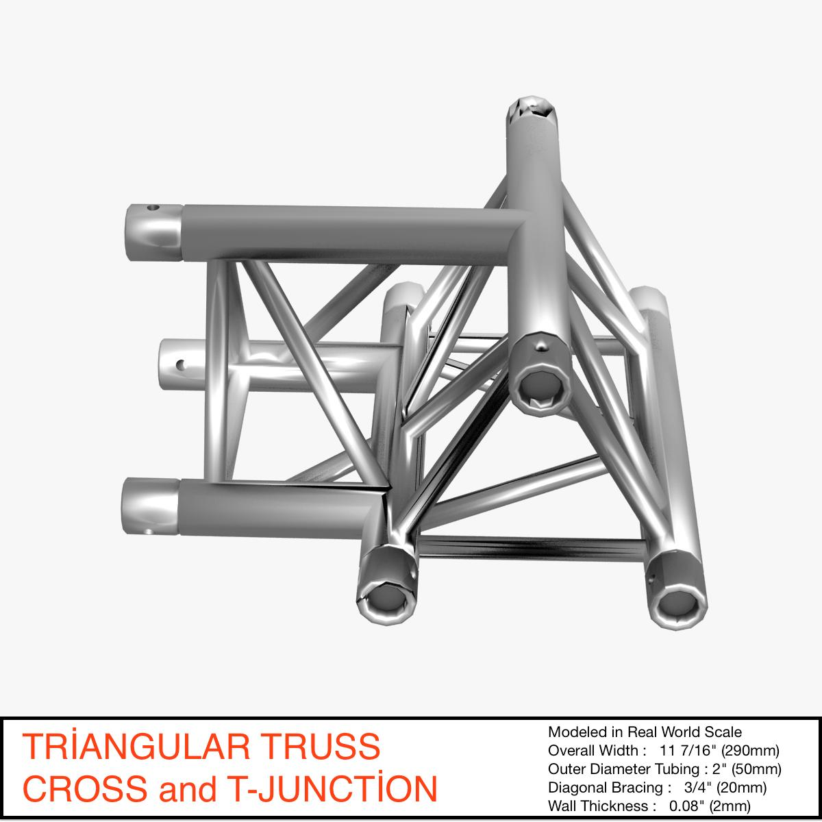 triangular truss cross t junction 84 3d model 3ds max dxf fbx b3d c4d  obj 268951
