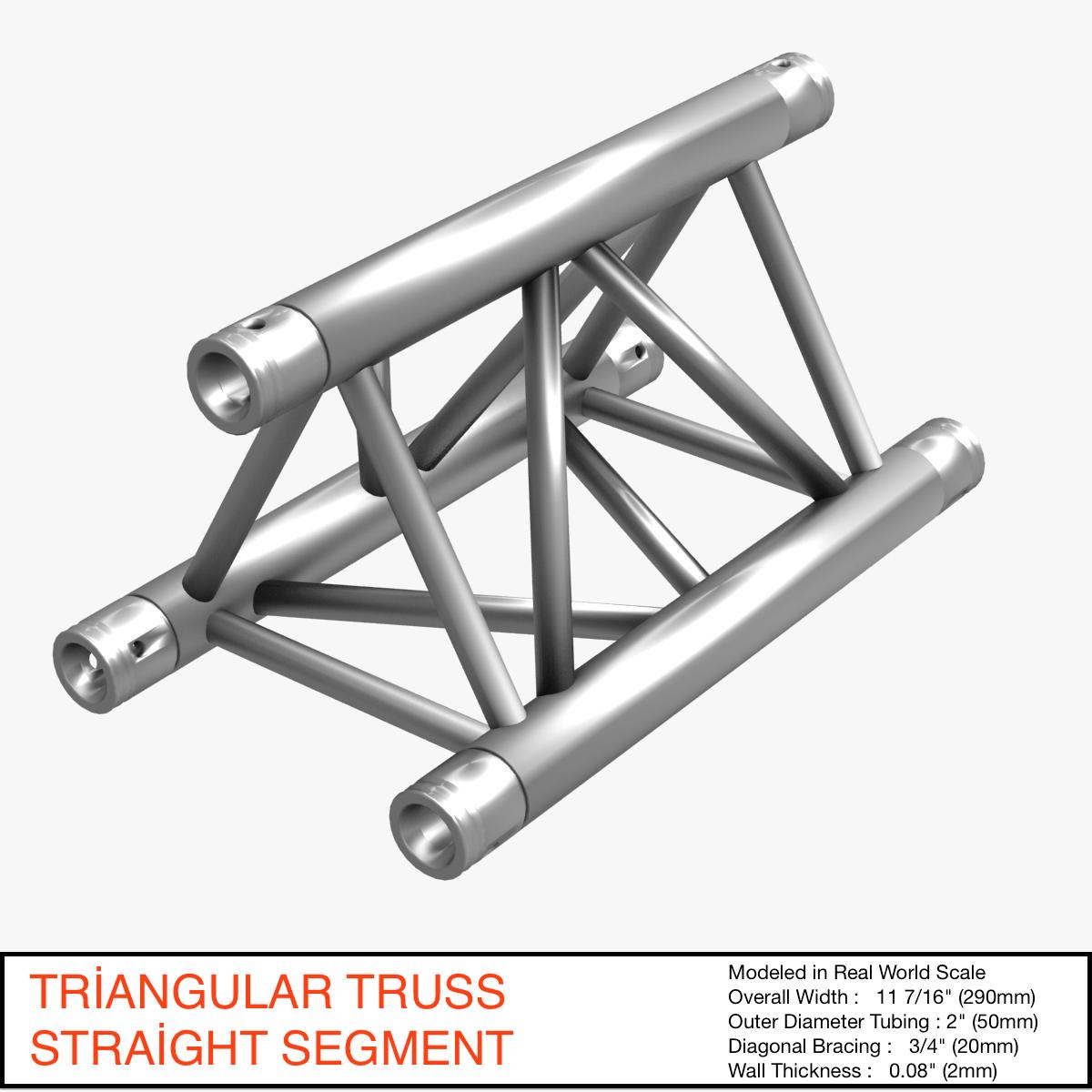 triangular truss straight segment 71 3d model 3ds max dxf fbx b3d c4d  obj 268960