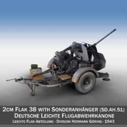 2cm Flak 38 with SD.AH 51 - Trailer - DHG 3d model 0