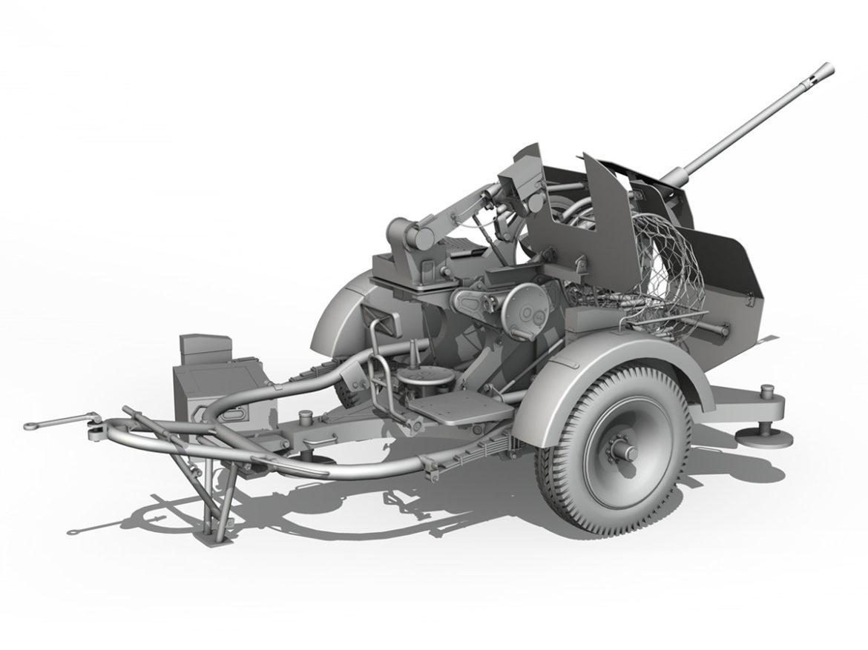2cm Flak 38 with SD.AH 51 - Trailer - DHG 3d model high poly virtual reality 3ds fbx c4d lwo lws lw obj