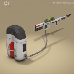 Sci-fi flamethrower 3d model 3ds dxf fbx c4d Collada dae obj