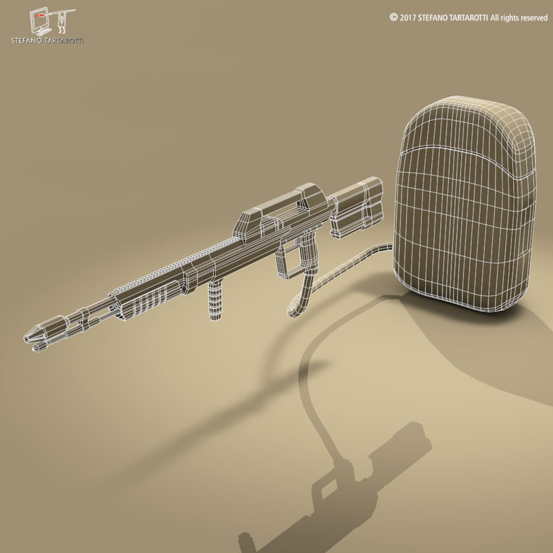 Sci-fi flamethrower 3d model 0
