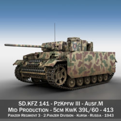 PzKpfw III - Panzer 3 - Ausf.M - 413 3d model high poly virtual reality 3ds c4d lwo lws lw obj