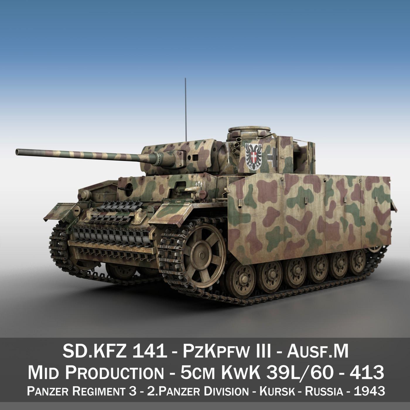 PzKpfw III - Panzer 3 - Ausf.M - 413 3d model 3ds c4d lwo lws lw obj 269364