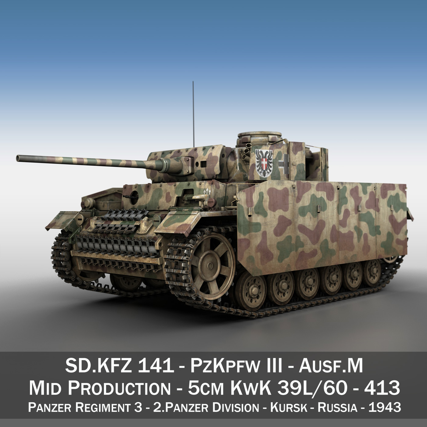 pzkpfw iii – panzer 3 – ausf.m – 413 3d model 3ds c4d lwo obj 269364