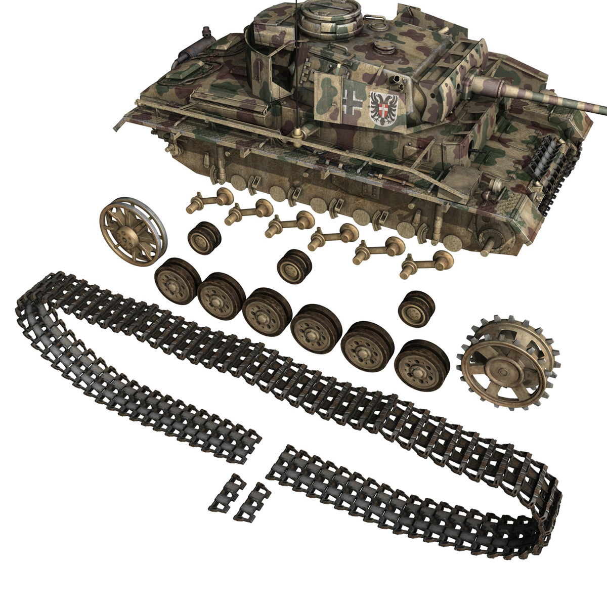 pzkpfw iii – panzer 3 – ausf.m – 413 3d model 3ds c4d lwo obj 269375