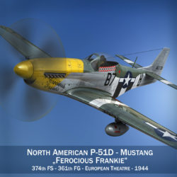 North American P-51D Mustang - Ferocious Frankie 3d model high poly virtual reality fbx c4d lwo lws lw obj