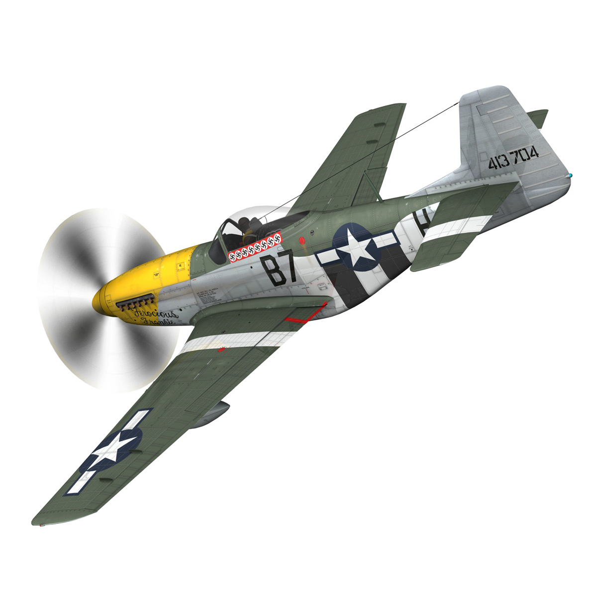 north american p-51d mustang – ferocious frankie 3d model fbx c4d lwo obj 269490