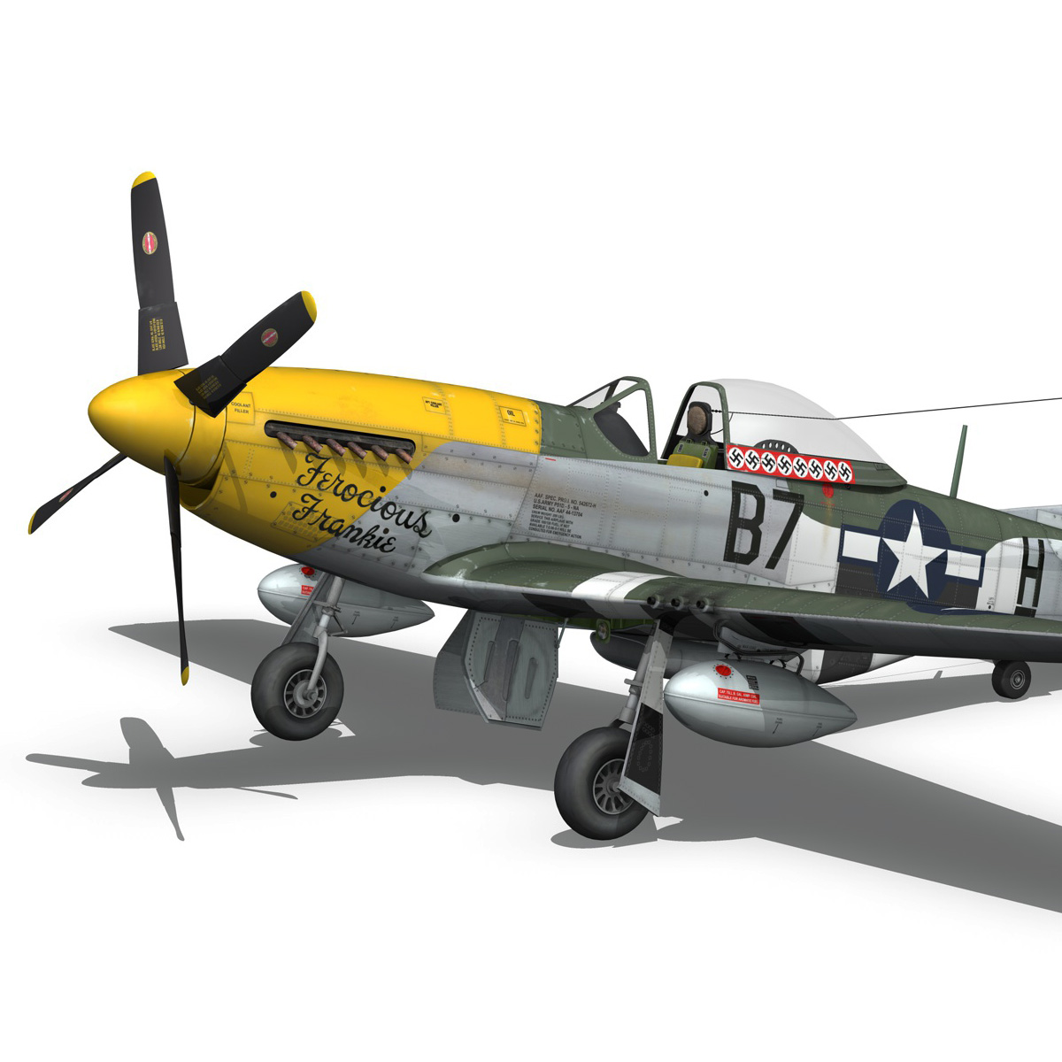 north american p-51d mustang – ferocious frankie 3d model fbx c4d lwo obj 269495