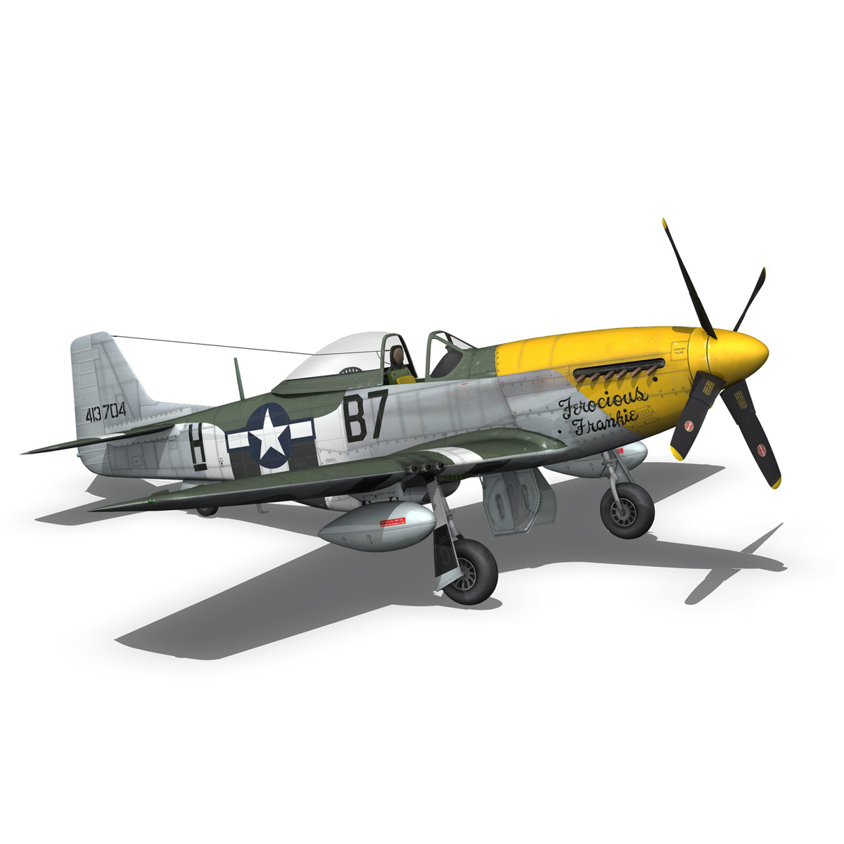 north american p-51d mustang – ferocious frankie 3d model fbx c4d lwo obj 269499