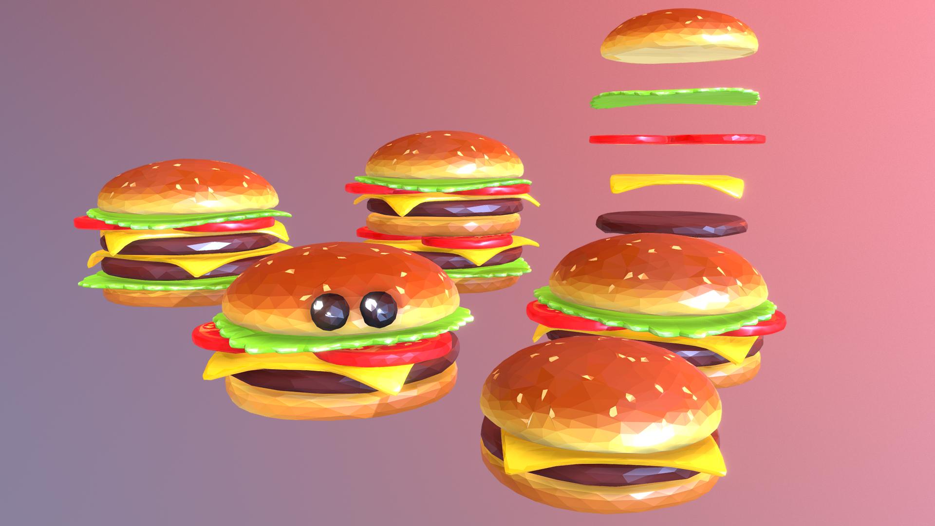 lowpolyart hamburger cheeseburger graditelj 3d model 3ds max fbx jpeg jpg ma mb tekstura obj 269550