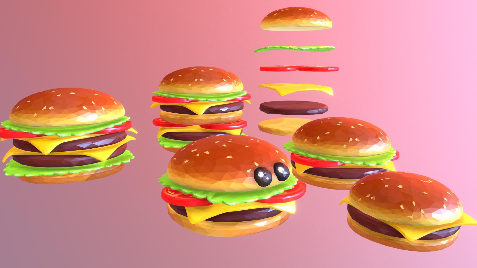 lowpolyart hamburger cheeseburger graditelj 3d model 3ds max fbx jpeg jpg ma mb tekstura obj 269551