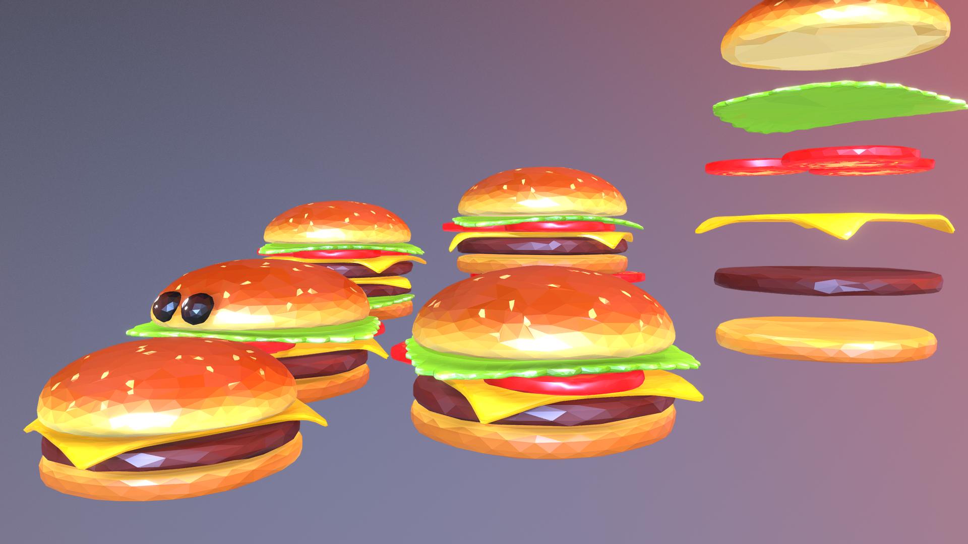 lowpolyart hamburger cheeseburger graditelj 3d model 3ds max fbx jpeg jpg ma mb tekstura obj 269552