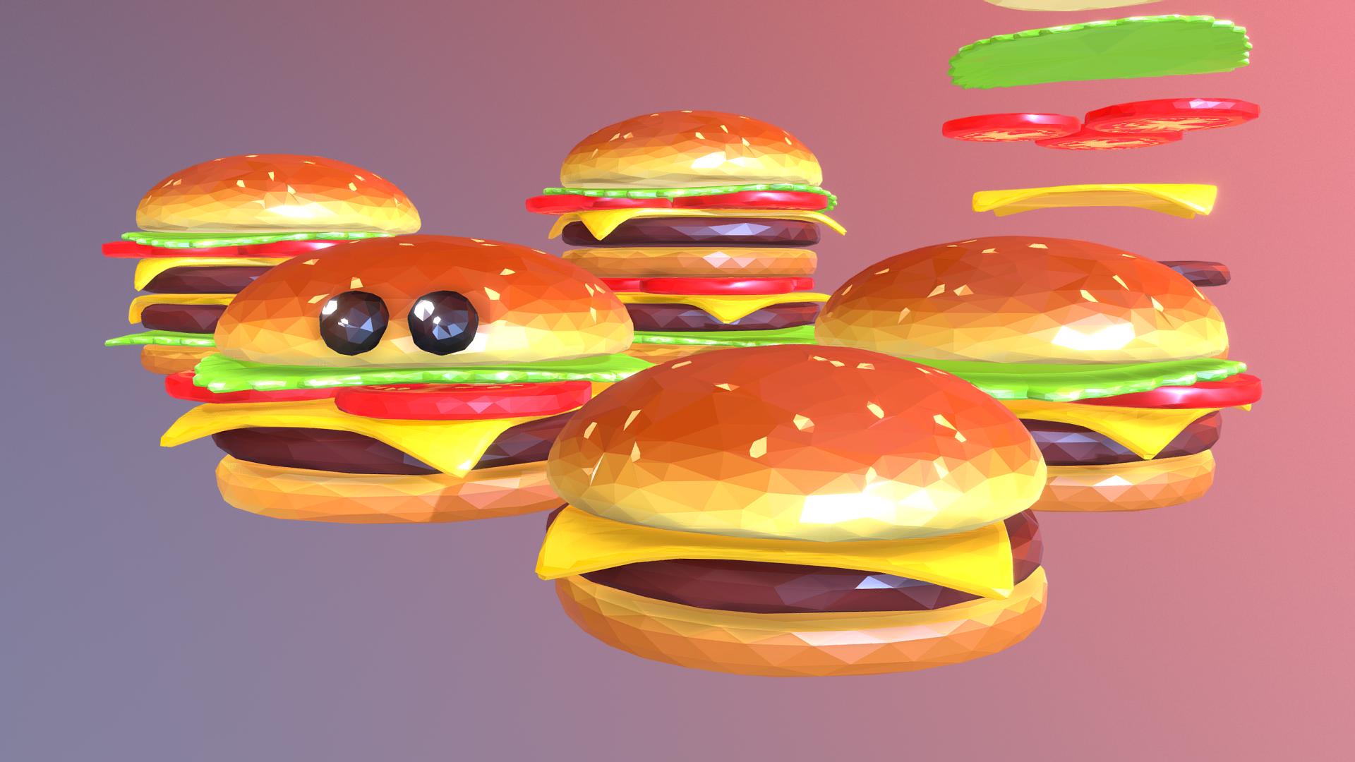 lowpolyart hamburger cheeseburger graditelj 3d model 3ds max fbx jpeg jpg ma mb tekstura obj 269553