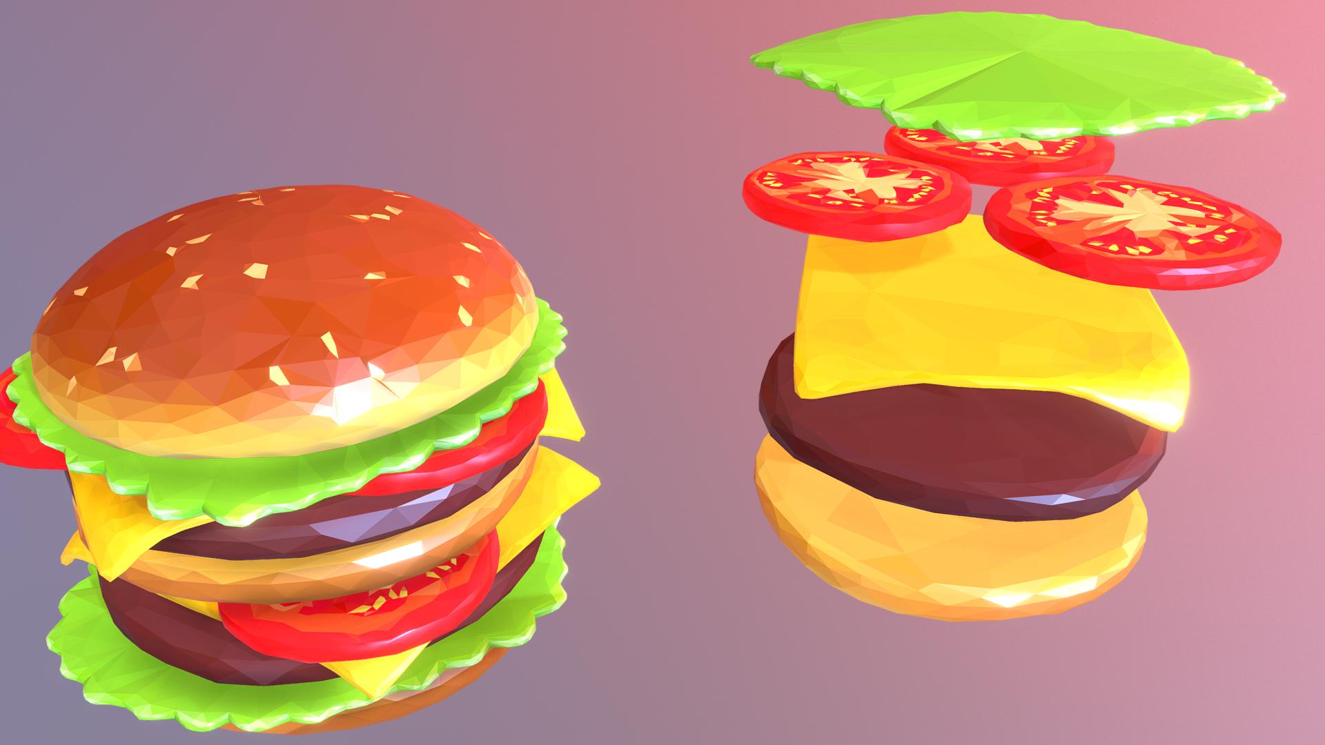 lowpolyart hamburger cheeseburger graditelj 3d model 3ds max fbx jpeg jpg ma mb tekstura obj 269554