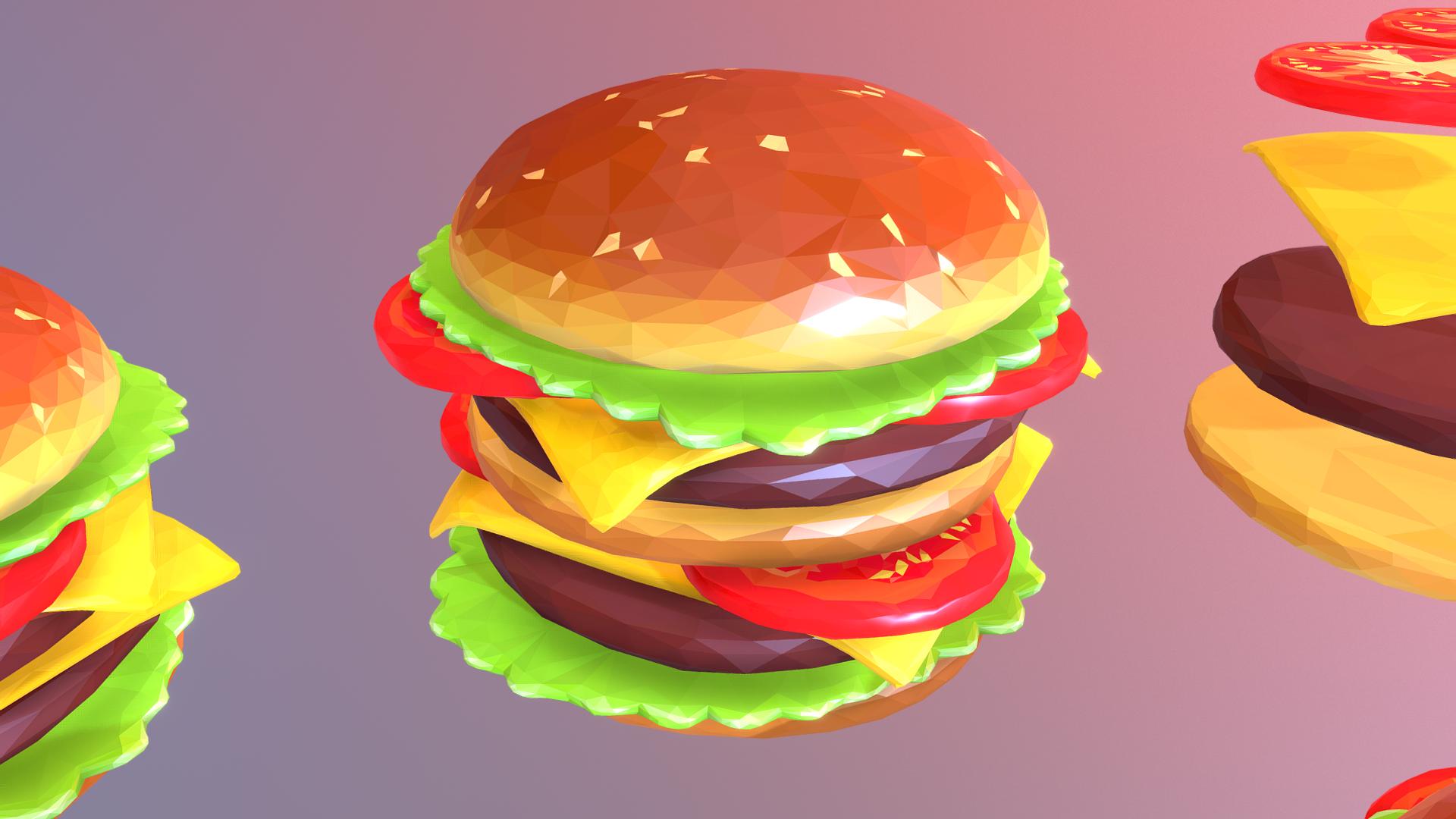 низькополярний бургер чизбургер конструктор 3d модель 3ds макс.