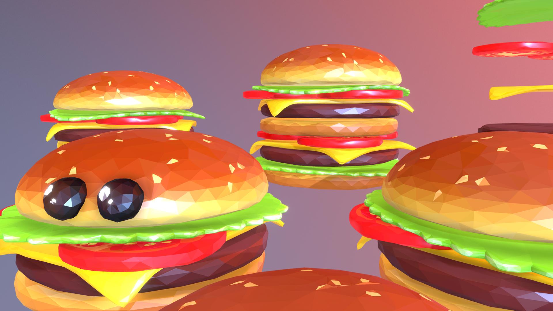 lowpolyart hamburger cheeseburger graditelj 3d model 3ds max fbx jpeg jpg ma mb tekstura obj 269557