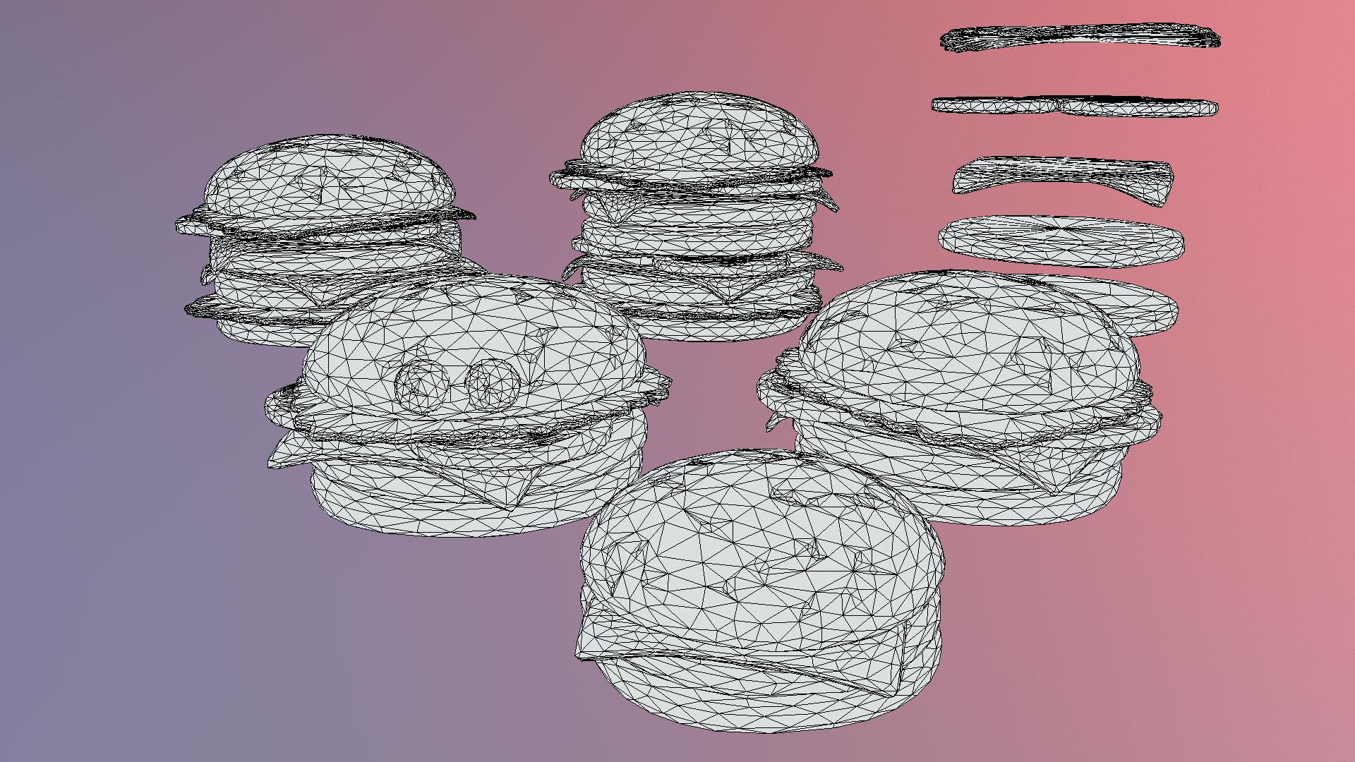 lowpolyart hamburger cheeseburger graditelj 3d model 3ds max fbx jpeg jpg ma mb tekstura obj 269558