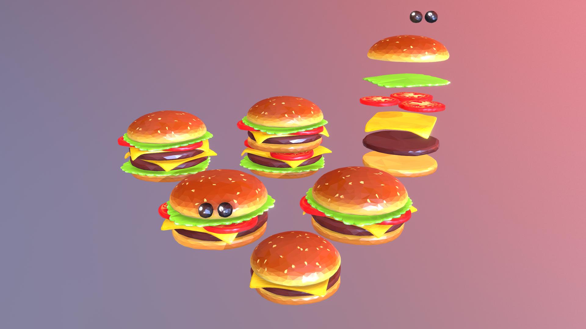 lowpolyart hamburger cheeseburger graditelj 3d model 3ds max fbx jpeg jpg ma mb tekstura obj 269559