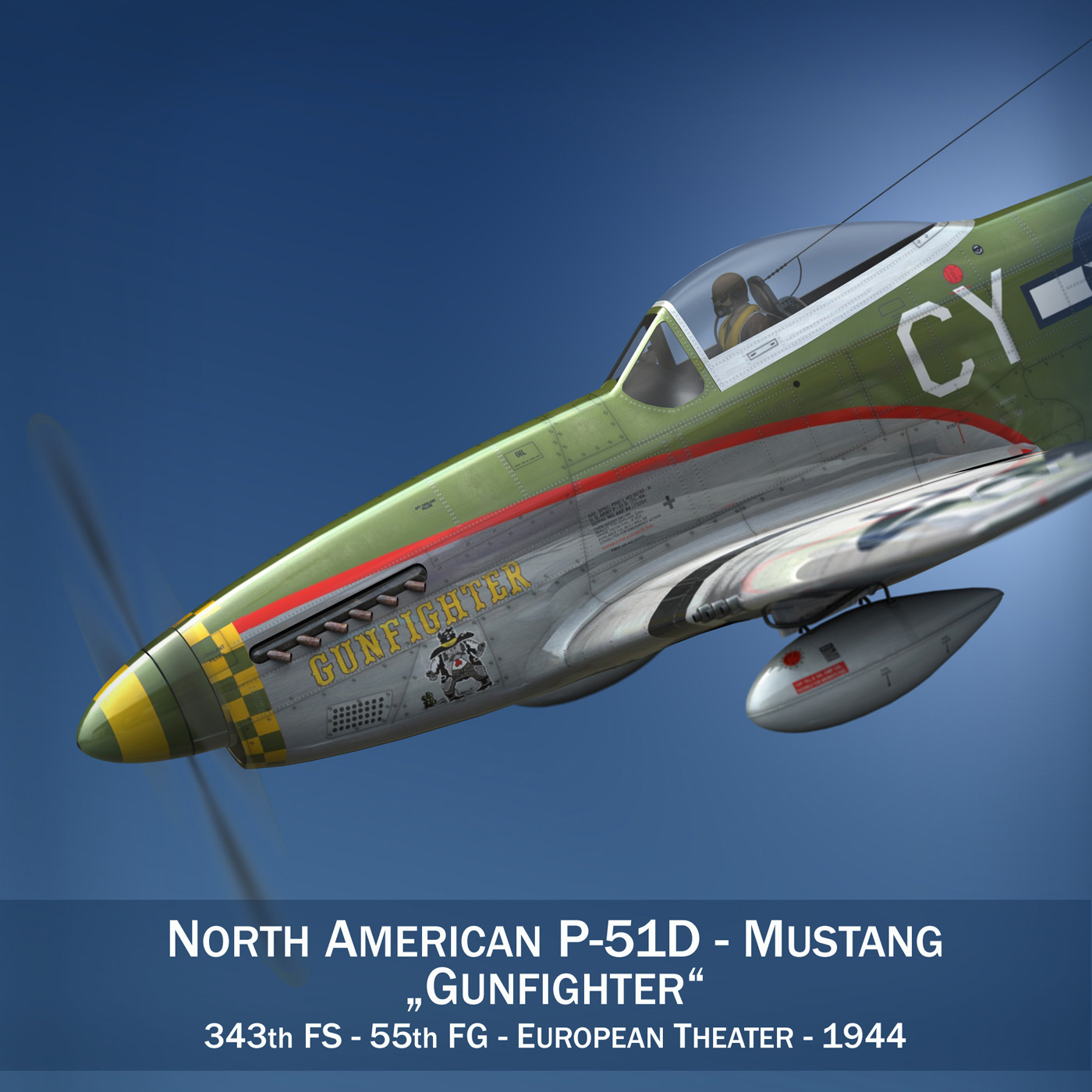 north american p-51d mustang – gunfighter 3d model fbx c4d lwo obj 269568