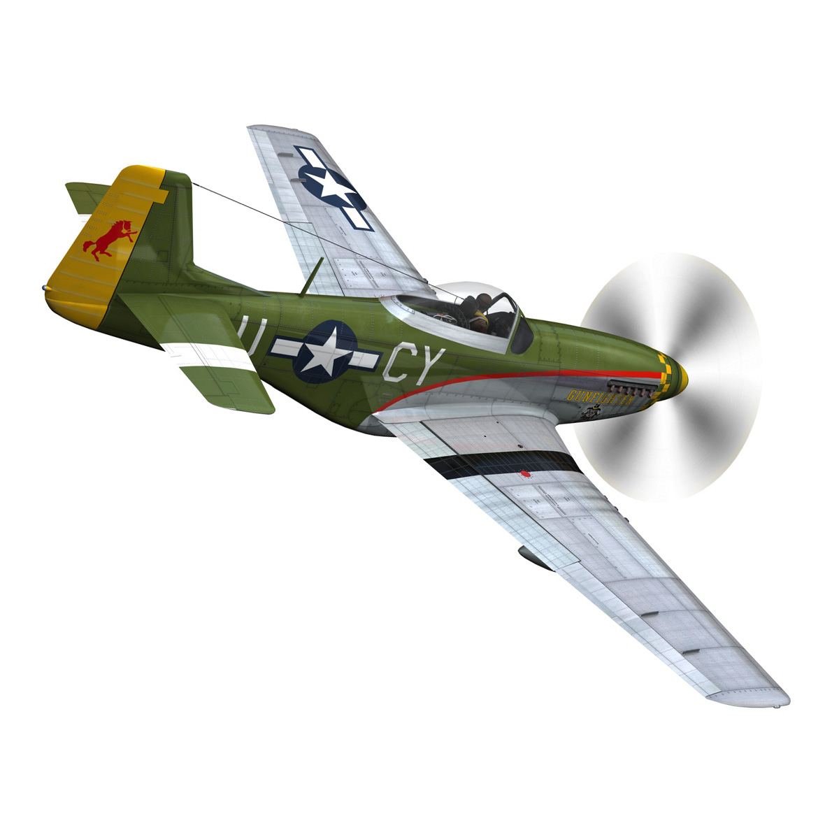 north american p-51d mustang – gunfighter 3d model fbx c4d lwo obj 269574