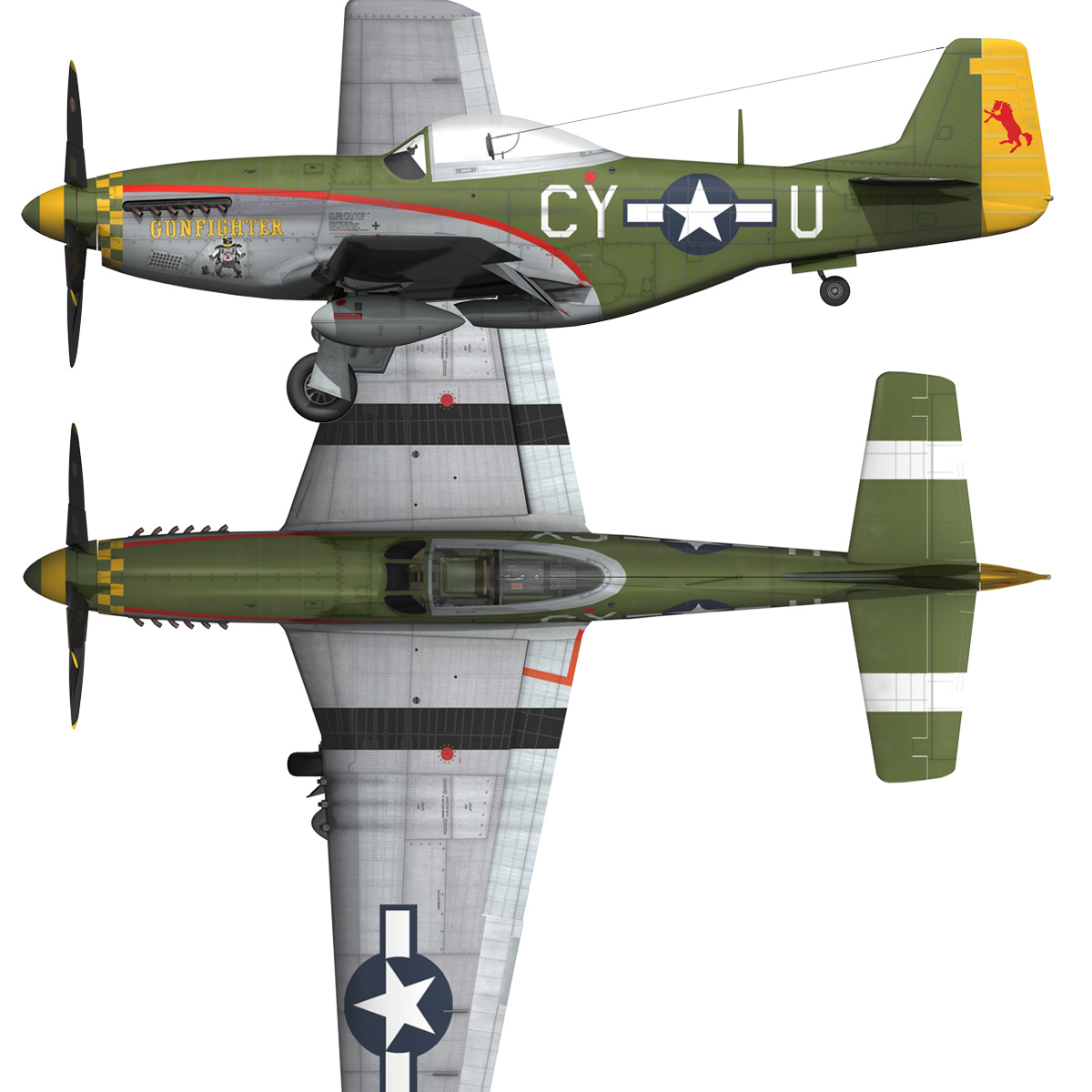 north american p-51d mustang – gunfighter 3d model fbx c4d lwo obj 269586