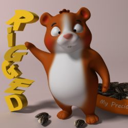 Cartoon hamster RIGGED 3d model 3ds max fbx  obj