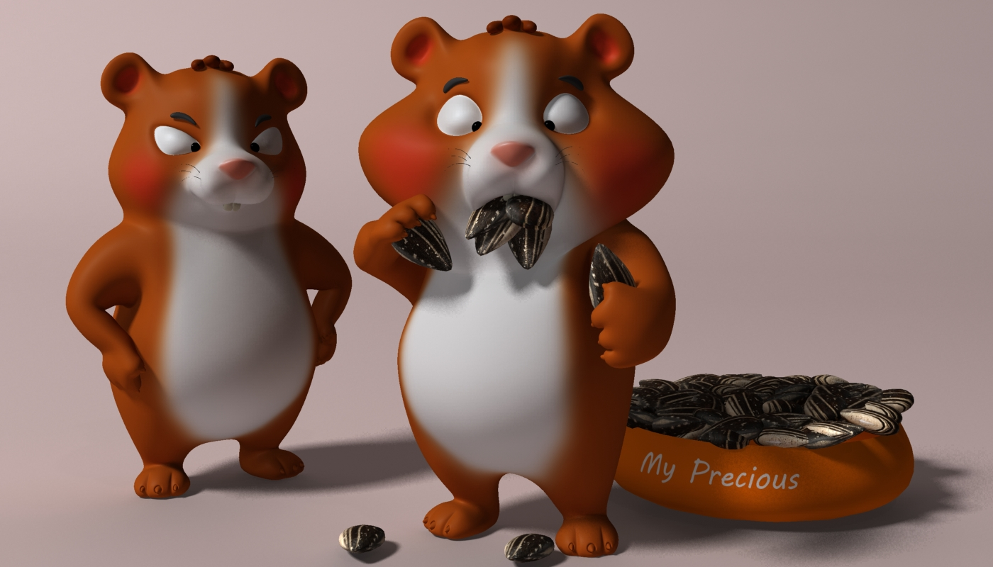 cartoon hamster rigged 2 3d model 3ds max fbx  obj 269684