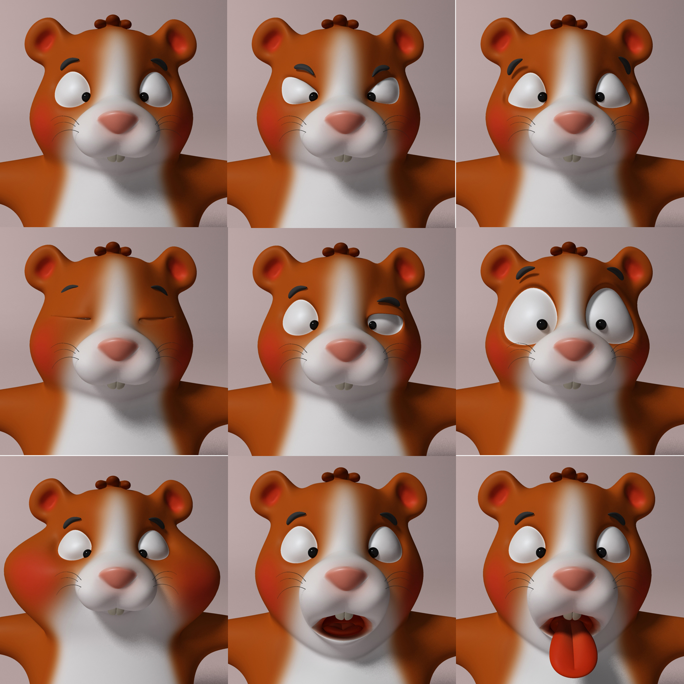 cartoon hamster rigged 2 3d model 3ds max fbx  obj 269690