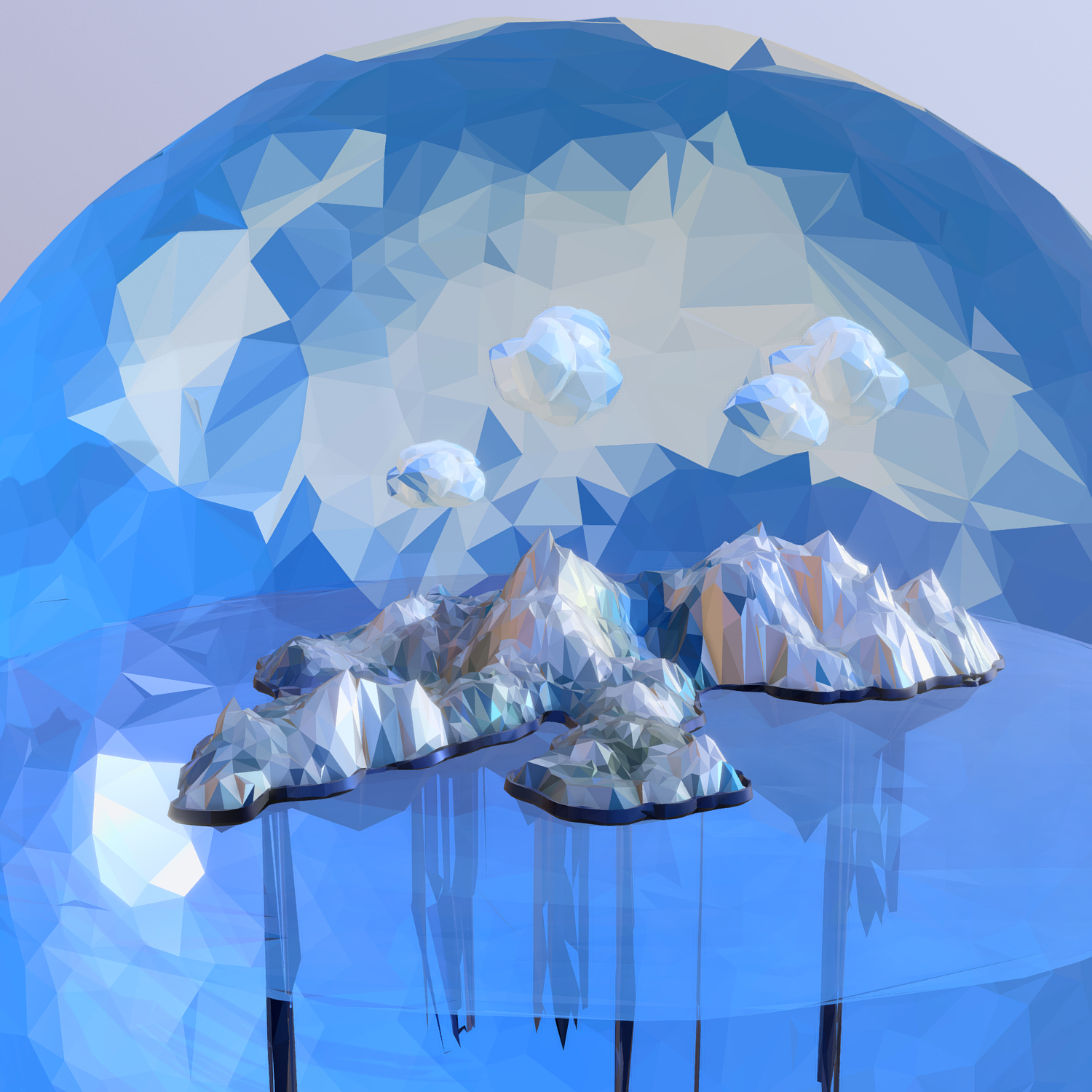 low polygon art snow island mountain waterfall 3d model 3ds max fbx ma mb obj 269708