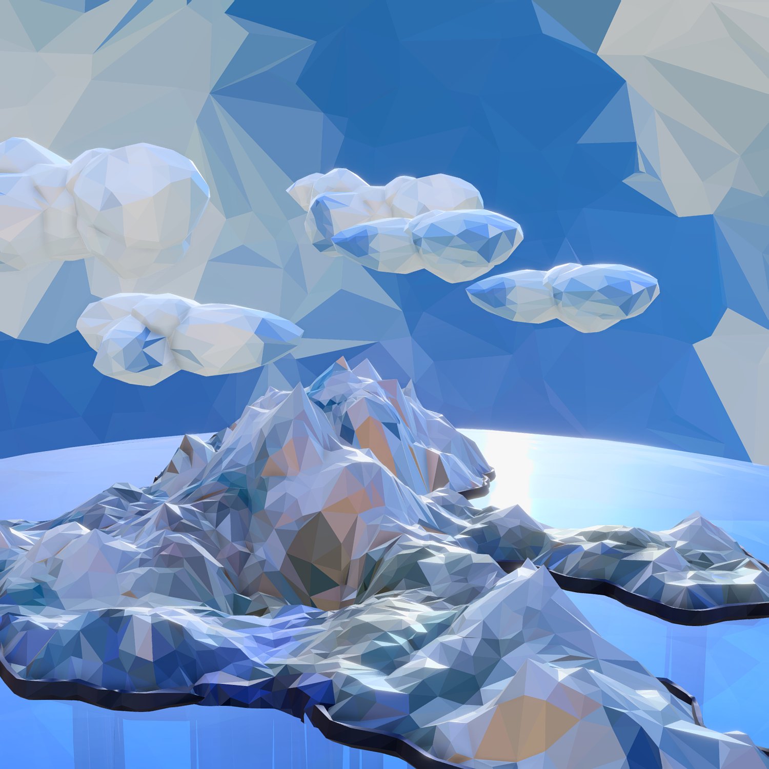 low polygon art snow island mountain waterfall 3d model 3ds max fbx ma mb obj 269715