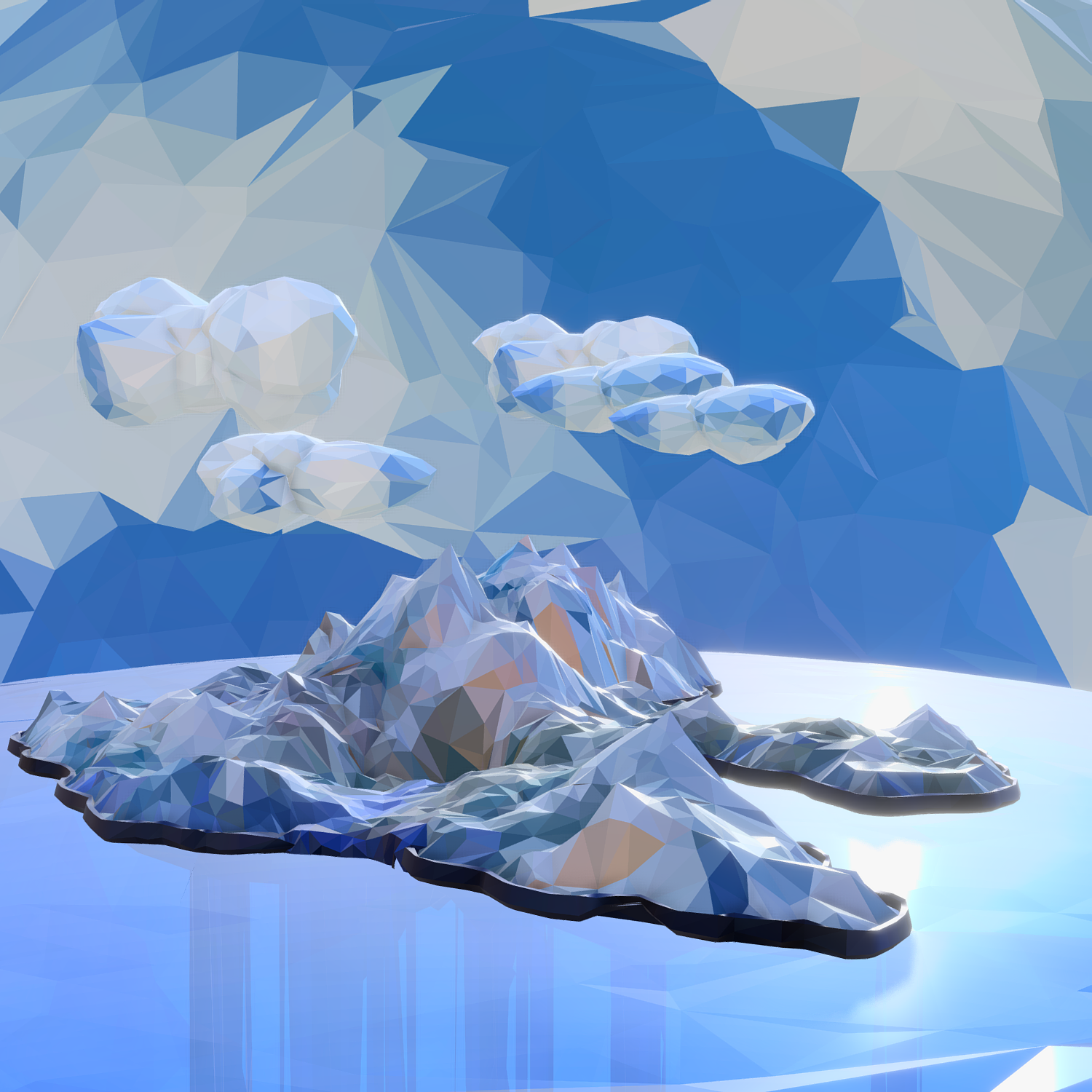 low polygon art snow island mountain waterfall 3d model 3ds max fbx ma mb obj 269718