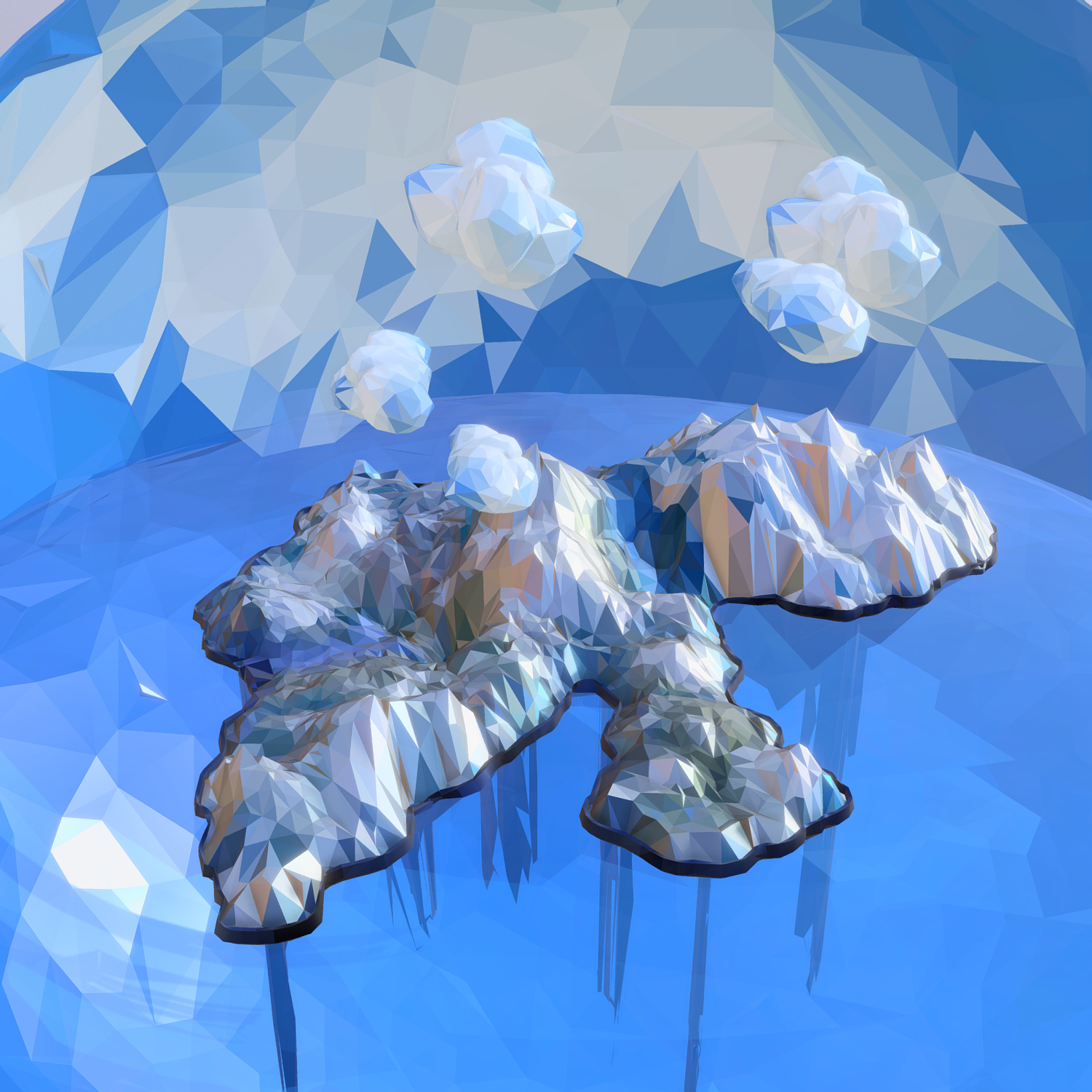 low polygon art snow island mountain waterfall 3d model 3ds max fbx ma mb obj 269726