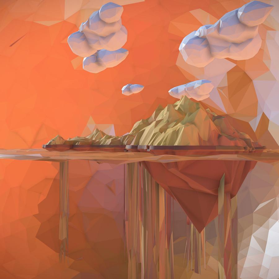 low polygon art sand waterfall island mountain 3d model 3ds max fbx ma mb tga targa icb vda vst pix obj 269813