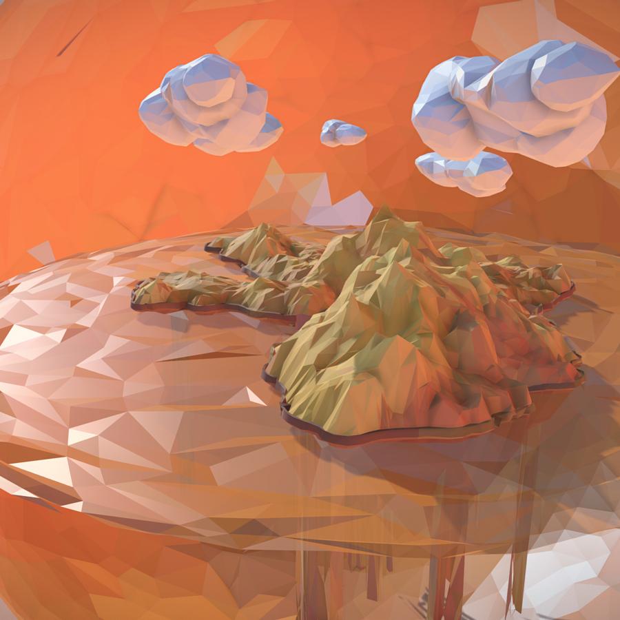 low polygon art sand waterfall island mountain 3d model 3ds max fbx ma mb tga targa icb vda vst pix obj 269814