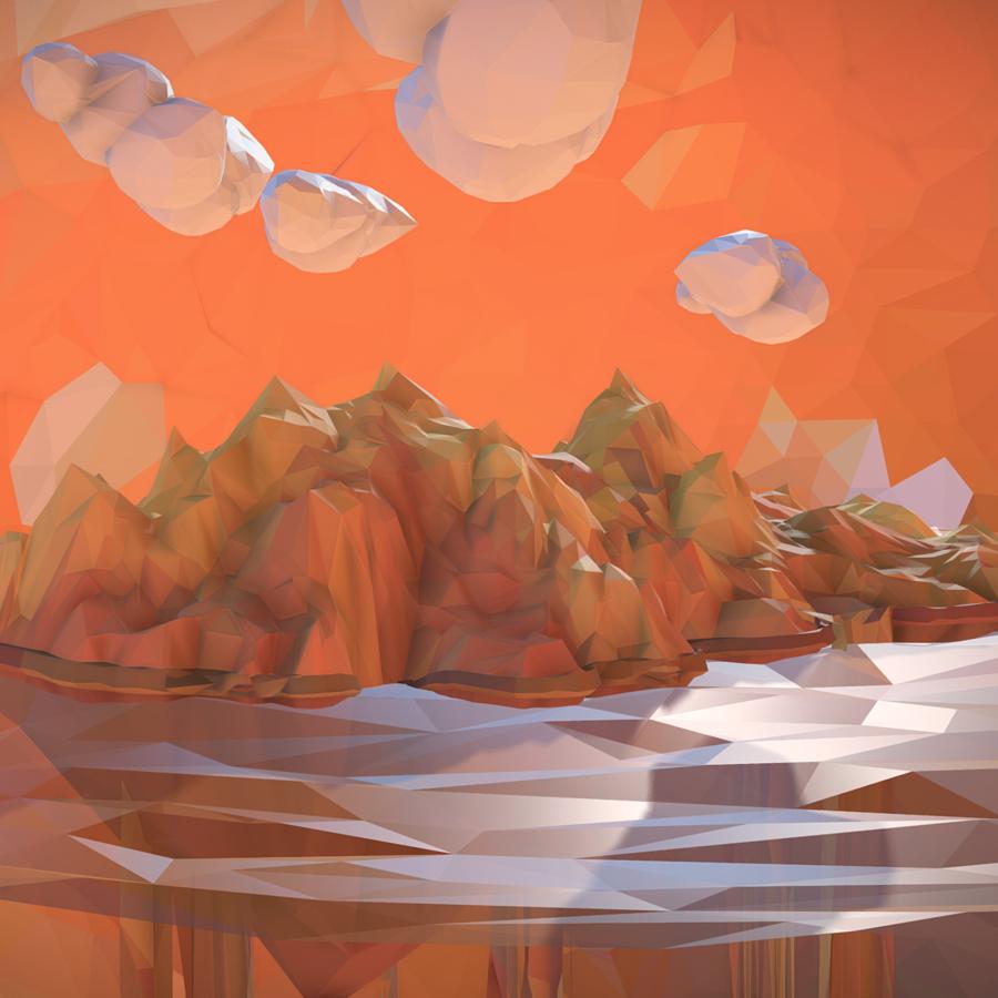 low polygon art sand waterfall island mountain 3d model 3ds max fbx ma mb tga targa icb vda vst pix obj 269815