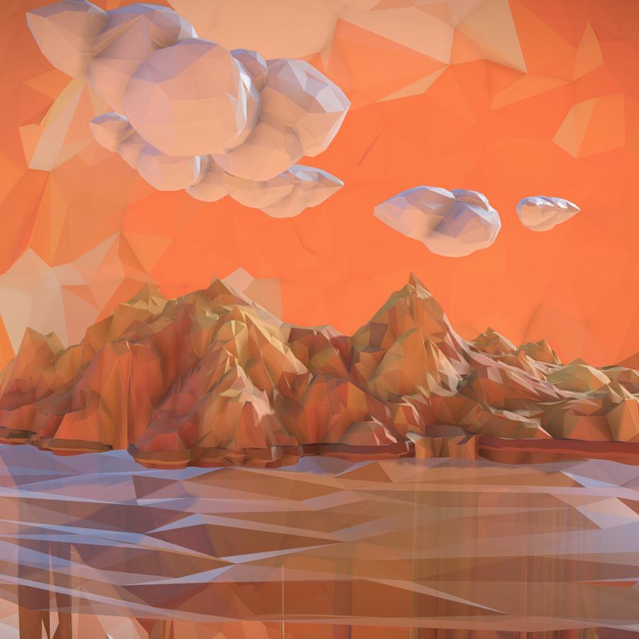 low polygon art sand waterfall island mountain 3d model 3ds max fbx ma mb tga targa icb vda vst pix obj 269816