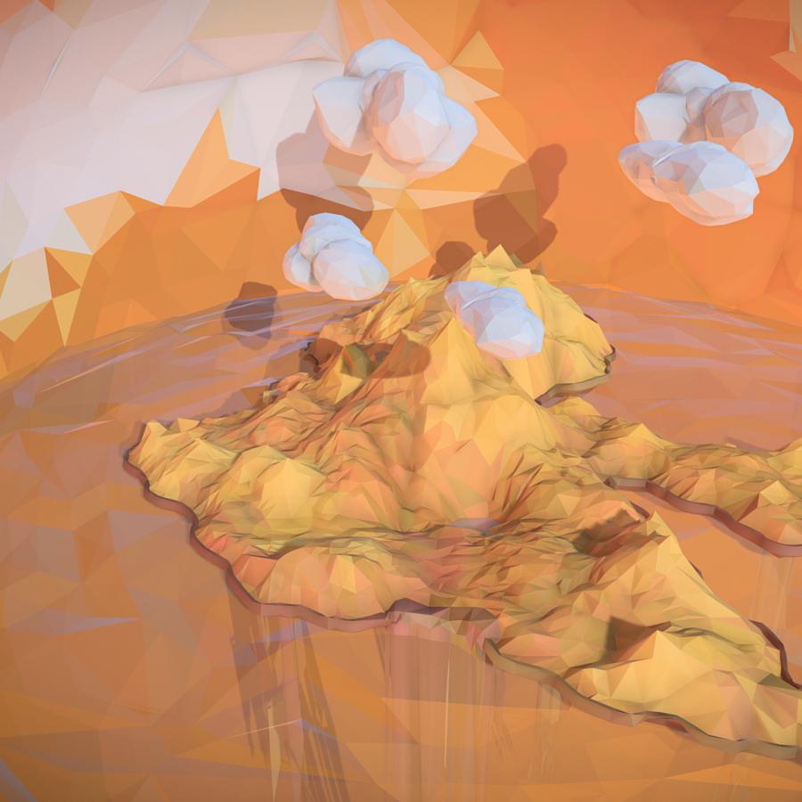 low polygon art sand waterfall island mountain 3d model 3ds max fbx ma mb tga targa icb vda vst pix obj 269819