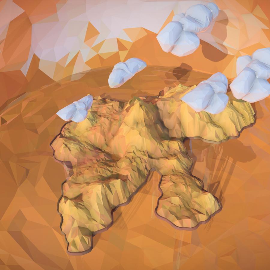 low polygon art sand waterfall island mountain 3d model 3ds max fbx ma mb tga targa icb vda vst pix obj 269820
