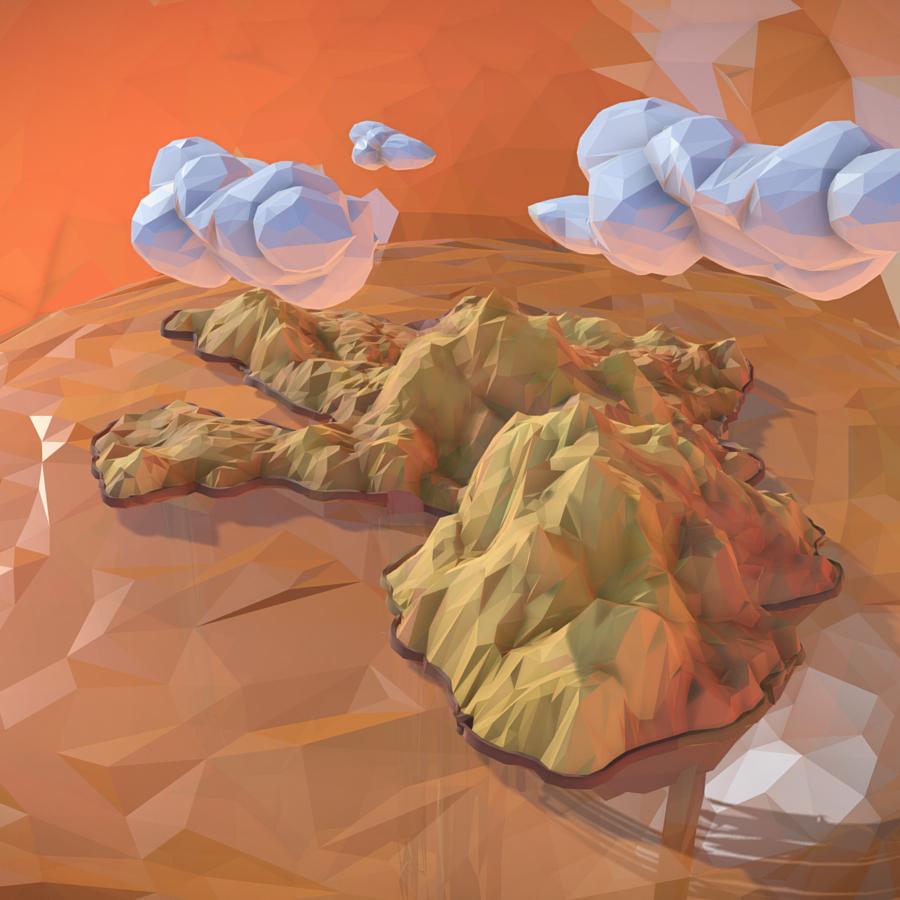 low polygon art sand waterfall island mountain 3d model 3ds max fbx ma mb tga targa icb vda vst pix obj 269821