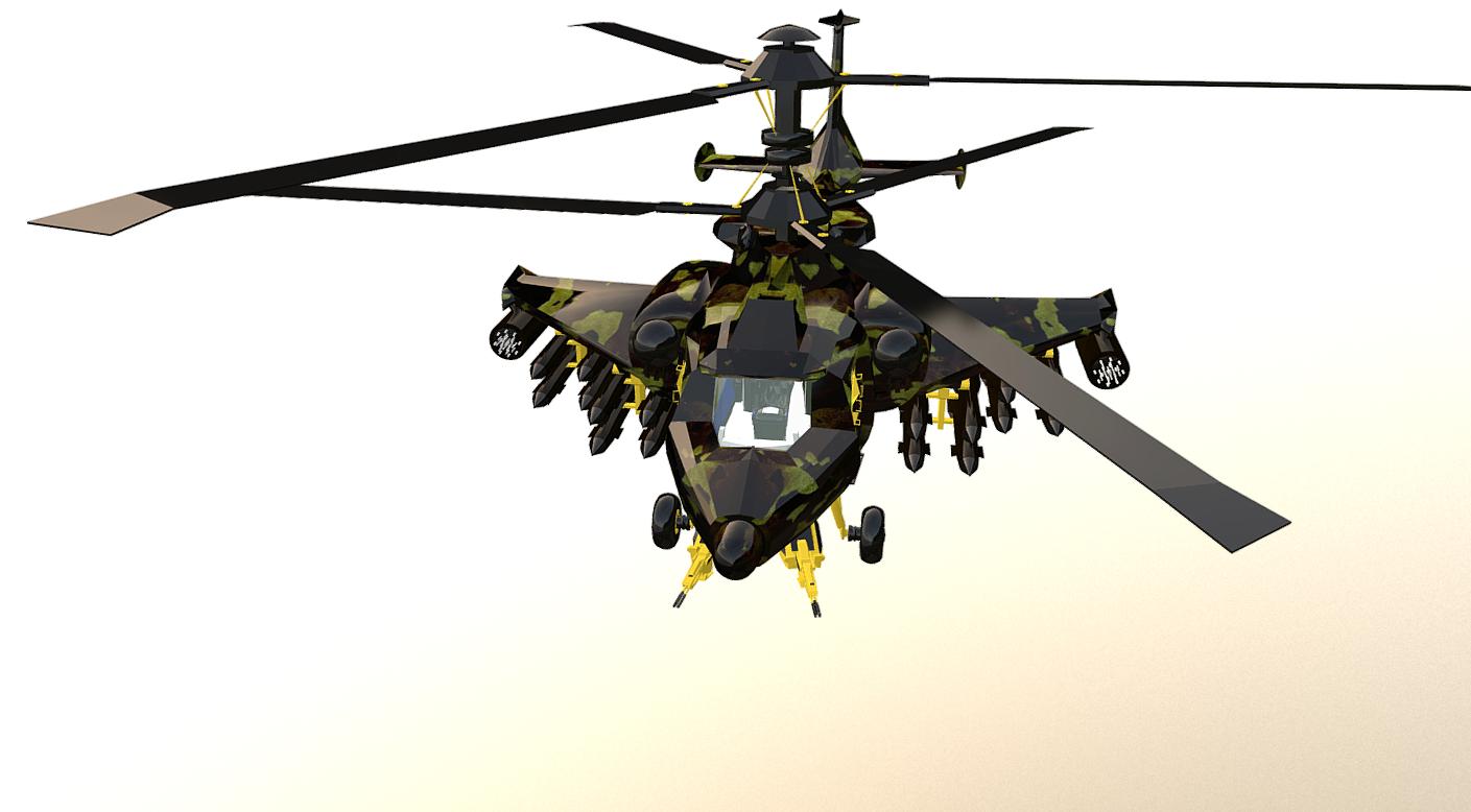 fantasy military helicopter 3d model fbx 269896