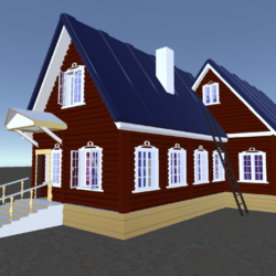 Russian Wooden House In Siberian Village 3d model 0