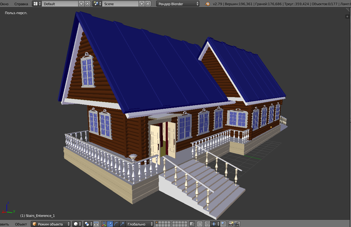 russian wooden house in siberian village 3d model fbx 269913