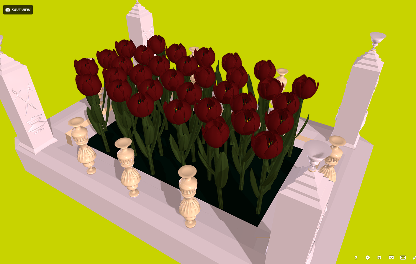flowers – red tulips in the flowerbed 3d model fbx 269932