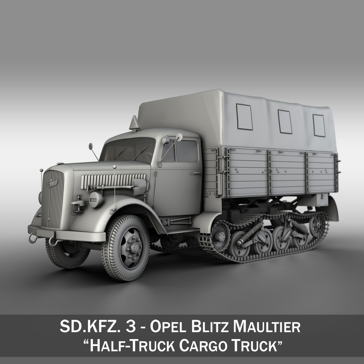 opel blitz maultier – half-truck cargo truck 3d model 3ds fbx c4d lwo obj 269955